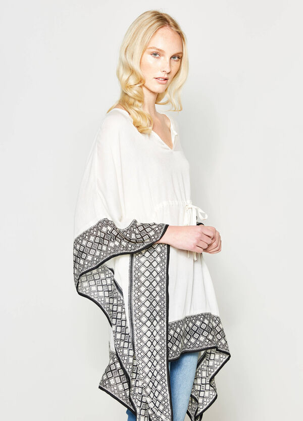 Viscose kaftan with printed edge | OVS