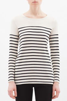 Stretch striped viscose T-shirt, Black, hi-res
