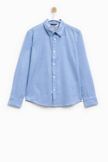 Camicia in puro cotone tinta unita, Blu chiaro, hi-res