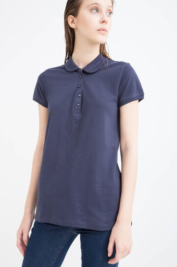 Cotton polo shirt with bluff collar, Navy Blue, hi-res