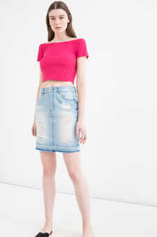 Viscose crop T-shirt, Fuchsia, hi-res
