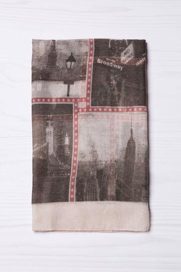 City print scarf, Beige, hi-res