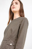 Stretch viscose jacquard blouse with check pattern, Black, hi-res