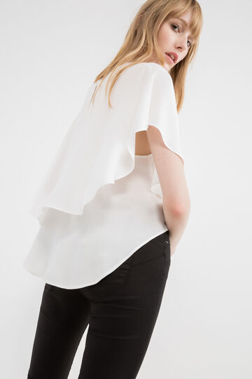 100% viscose T-shirt with overlap, White, hi-res