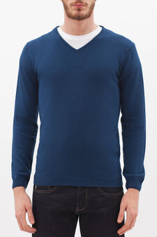 V-neck pullover in silk and cashmere, Deep Blue, hi-res