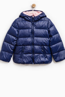 Down jacket with double pocket and hood, Indigo Blue, hi-res