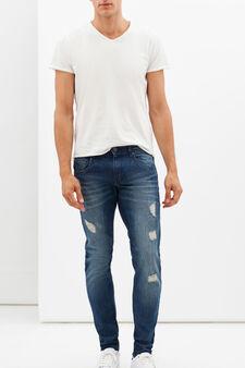 Jeans slim fit strappati, Lavaggio scuro, hi-res