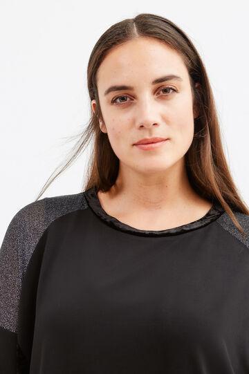 T-shirt misto cotone con inserti Curvy, Nero, hi-res