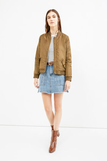 Solid colour bomber jacket with zip, Army Green, hi-res