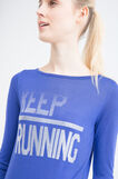 Gym T-shirt in printed viscose, Blue, hi-res
