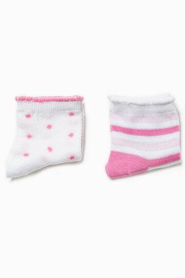 Set due paia di calze righe e pois, Bianco/Rosa, hi-res