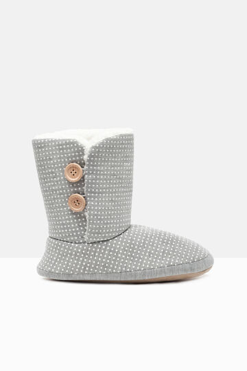 Polka dot slipper boots, Grey, hi-res