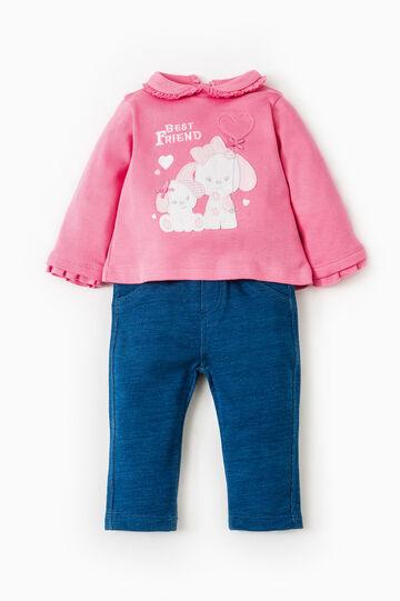 Cotton polo shirt and jeggings set, Fuchsia, hi-res