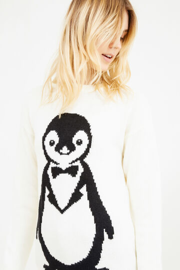 Knit pullover with embroidered penguin, White, hi-res