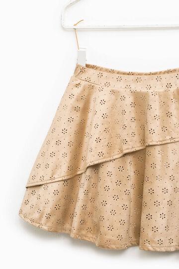 Suede openwork skirt, Beige, hi-res