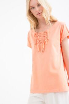 Cotton blend T-shirt with fringing, Orange, hi-res