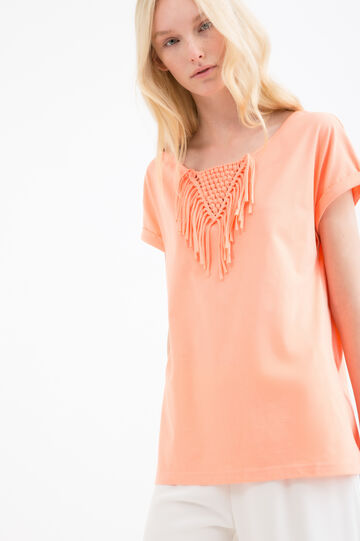 Cotton blend T-shirt with fringing, Orange, hi-res