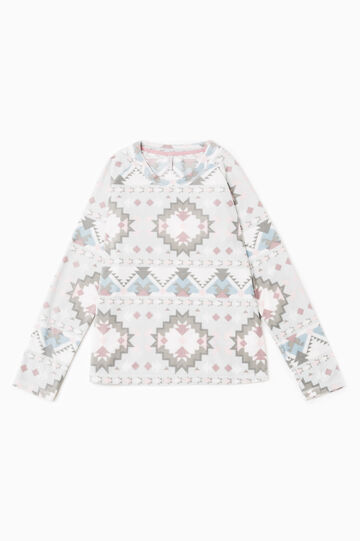 All-over print fleece pyjama top, White, hi-res