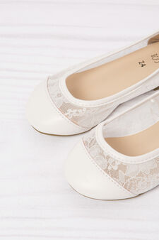 Ballerina flats with lace, White, hi-res