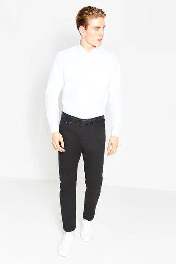 Pantalón slim fit en algodón elástico, Negro, hi-res