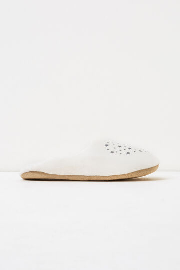 Solid colour star print slippers, White, hi-res