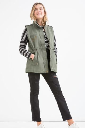 Teen long 100% waistcoat, Army Green, hi-res