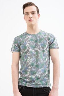 Printed cotton blend T-shirt, Dark Grey, hi-res