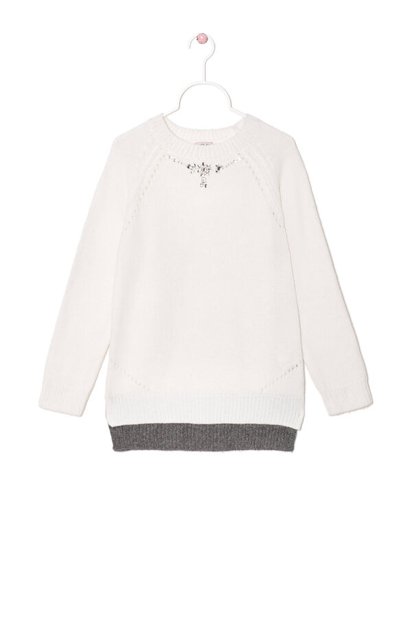 Wool blend knit pullover with diamanté decoration | OVS