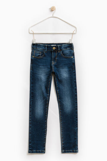 Used-effect slim-fit stretch jeans, Blue, hi-res