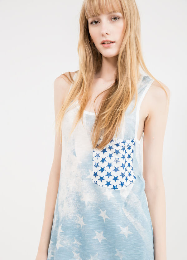 Long 100% viscose top with print | OVS