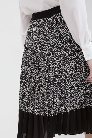 Pleated longuette skirt, Black/White, hi-res