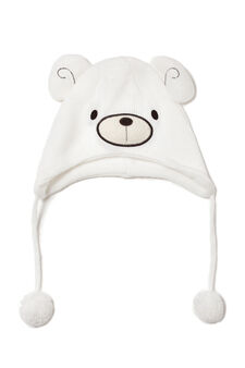 Hat with embroidered ear flaps, White, hi-res