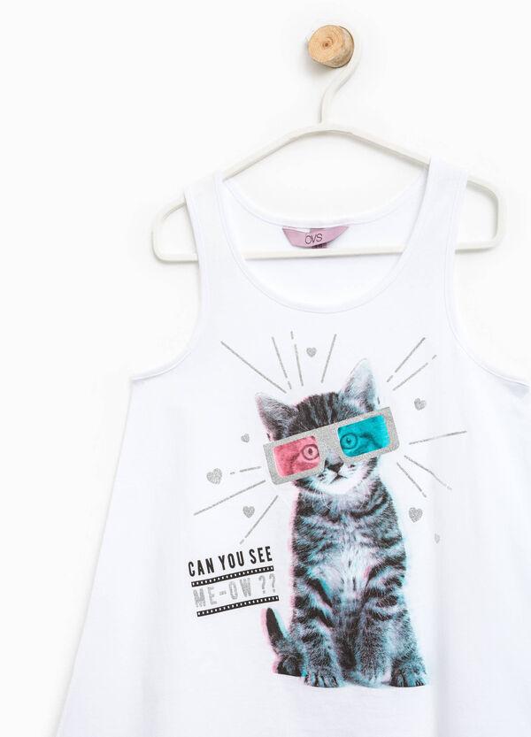 Cotton top with printed asymmetric hem | OVS