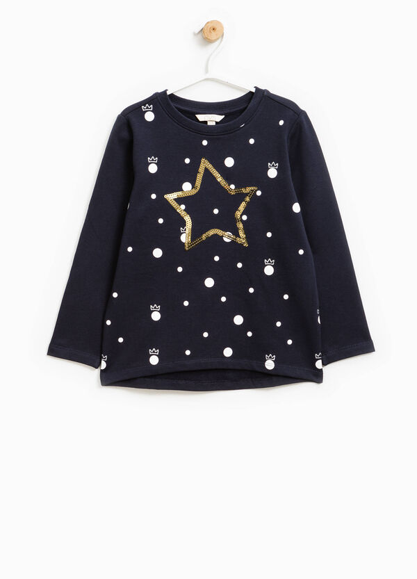 Stretch sweatshirt with pattern and sequins | OVS