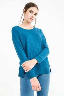 Solid colour T-shirt with side splits, Petrol Blue, hi-res