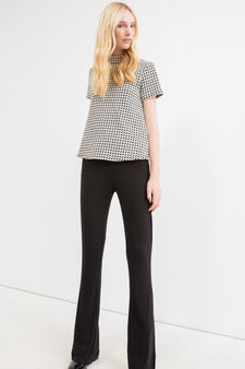 Solid colour stretch bell-bottom trousers, Black, hi-res