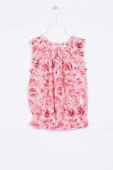 Sleeveless floral shirt, White, hi-res