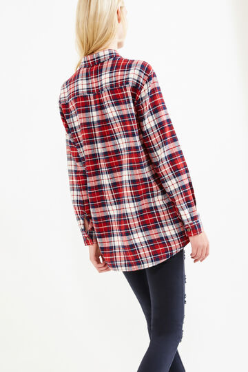 Check patterned shirt in 100% cotton, White/Red, hi-res
