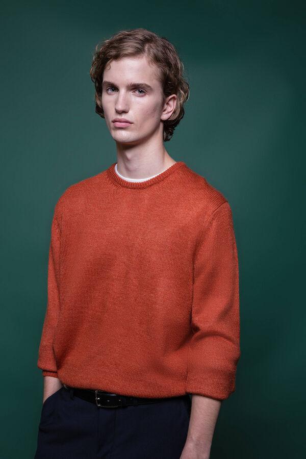 Jersey en punto tricot calado de color liso con cuello redondo | OVS