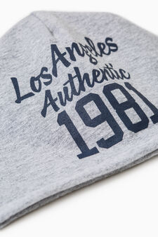 Beanie cap with printed lettering, Grey, hi-res