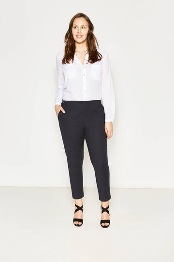 Pantaloni cotone e rayon stretch Curvy, Blu scuro, hi-res