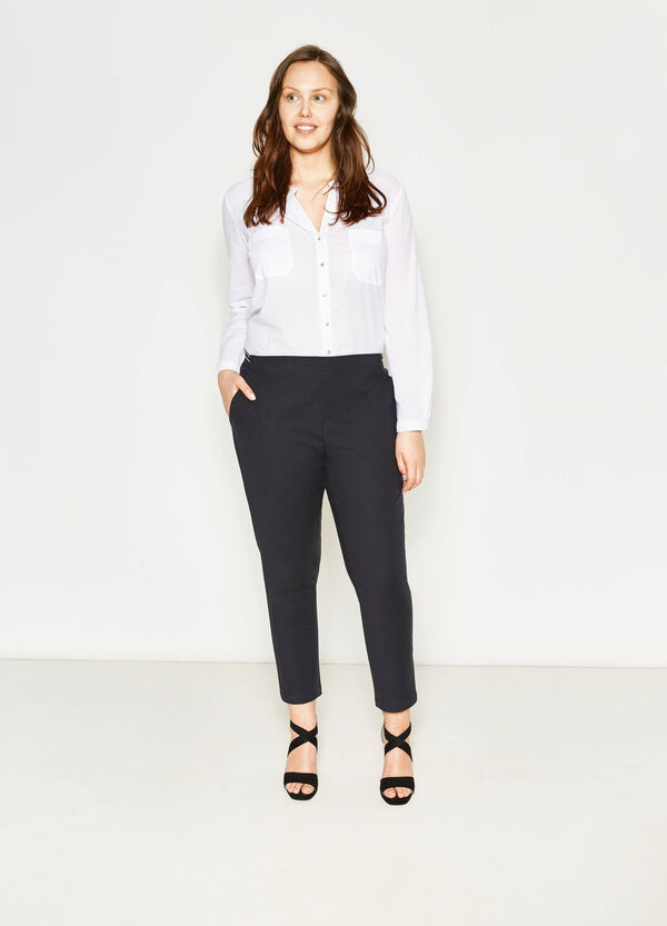 Curvy stretch cotton and rayon trousers | OVS