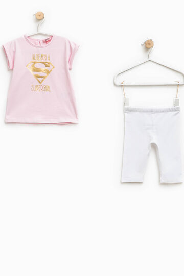 Supergirl T-shirt and trousers outfit, White/Pink, hi-res