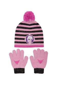 Frozen beanie cap and gloves set, Black/Pink, hi-res