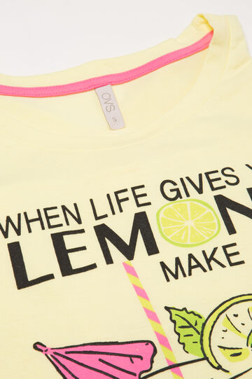 Printed cotton pyjama top, Lemon Yellow, hi-res