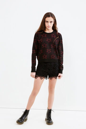 Teen knitted pullover with star pattern, Black, hi-res