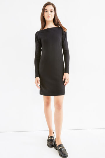 Solid colour long-sleeved dress., Black, hi-res
