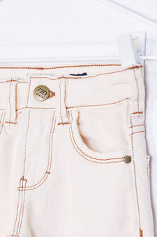 Solid colour, slim-fit stretch jeans, Cream, hi-res