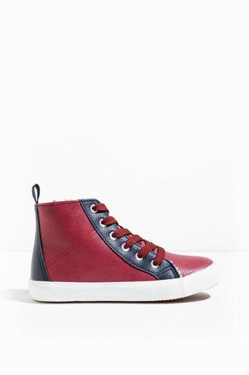 Sneakers alte effetto martellato, Rosso bordeaux, hi-res