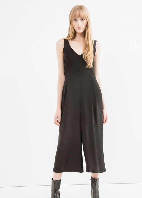 Stretch viscose playsuit with gaucho pants | OVS